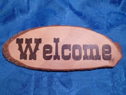 "Rindenbrett ""Welcome"""